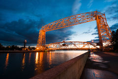 Aerial Lift Bridge. At Sunset in Duluth Minnesota, Canal Park Stock Images