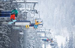 Free Aerial Lift Of Chairlift At Ski Resort In Winter Park Stock Image - 130405051