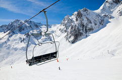 Aerial lift in the winter mountains Stock Image