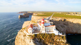 Aerial from the Lighthouse of Cabo Sao Vicente, Sagres, Portugal Royalty Free Stock Photo