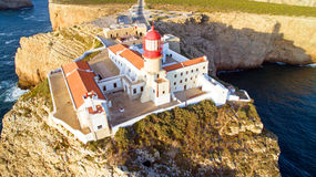 Aerial from the Lighthouse of Cabo Sao Vicente, Sagres, Portugal Royalty Free Stock Images
