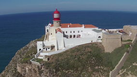 Aerial from the lighthouse Cabo Vicente near Sagres Portugal stock footage