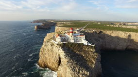 Aerial from the lighthouse Cabo Vicente in Sagres Portugal stock video