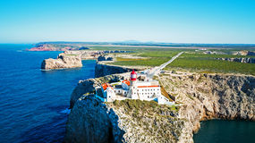 Aerial from lighthouse Cabo Vicente in Sagres Portugal Royalty Free Stock Photo