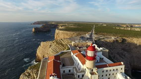 Aerial from the lighthouse Cabo Vicente in Sagres Portugal stock video footage