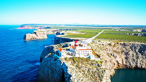 Aerial from lighthouse Cabo Vicente in Sagres Portugal Stock Photos