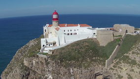 Aerial from the lighthouse Cabo Vicente Sagres Portugal stock video
