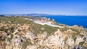 Aerial from the lighthouse in Lagos Portugal Stock Photos
