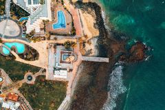 Aerial lighthouse view in Meloneras area on Gran Canaria island. royalty free stock image