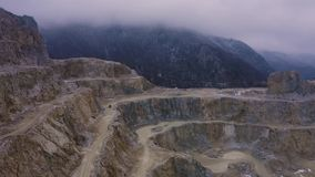 Aerial Limestone Quarry. In winter day stock video