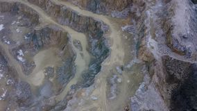 Aerial Limestone Quarry. In winter day stock video footage