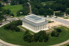 Aerial of Lincon Memorial in Washington, D.C. Royalty Free Stock Images