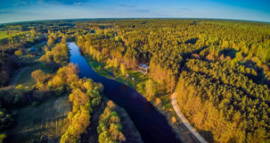 Aerial Lithuania. Aerial panorama countryside: river Sventoji in Andrioniskis near Anyksciai, Lithuania royalty free stock photos