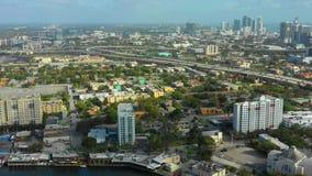 Aerial little Havana Miami River. USA stock footage