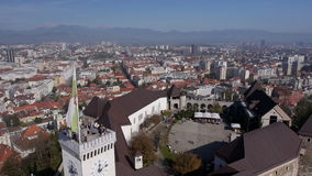 AERIAL: Ljubljana Castle and the cityscape of the town stock video footage