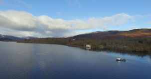 Aerial: Loch Tay in the Scottish Highlands during a beautiful clear winters day, Scotland.  stock video