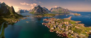Aerial Lofoten panorama Royalty Free Stock Images