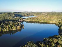 Aerial of Loganville, Pennsylvania around Lake Redman and Lake W. Illiams during Fall Royalty Free Stock Image