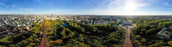 Aerial London City Skyline Wide 360 Degree Panorama View. In Central London around Buckingham Palace feat. St James`s Park and The Mall in Westminster, England royalty free stock images