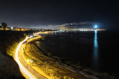 Aerial long exposure of Circuito de Playas from Miraflores, Lima Stock Photos