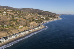 Aerial of Los Angeles County Beach Houses Royalty Free Stock Images