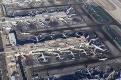 Aerial Los Angeles International Airport Terminals. Los Angeles, California, USA - August 16, 2016:  Aerial view of Delta Airlines terminals at LAX Royalty Free Stock Photography