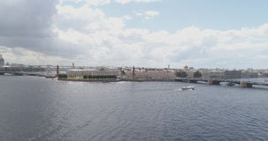 Aerial low altitude photo of St. Petersburg neva with view of Stock Market Square and bridges in summer day. Wide photo Royalty Free Stock Photos