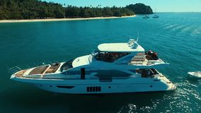 Aerial: Luxury boat near the beach. Phuket. Thailand Andaman sea stock video