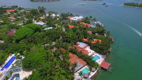 Aerial luxury homes Miami Beach