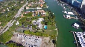 Aerial Luxury Miami Beach estates Royalty Free Stock Photo