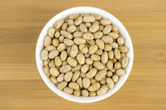 Aerial macro shot of roasted soybeans as nut snack Stock Image