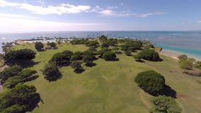 Aerial Magic Island in Honolulu, Hawaii stock footage