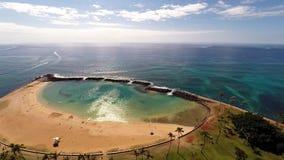 Aerial Magic Island in Honolulu, Hawaii stock video footage