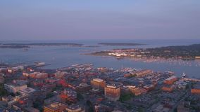 Aerial Maine Portland July 2017 Sunset 4K Inspire 2. Aerial video of downtown Portland at sunset stock video