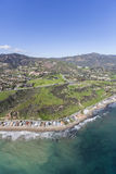 Aerial Malibu Beach Homes and Hills. Aerial view of Malibu beach homes and hillsides in Southern California Stock Image