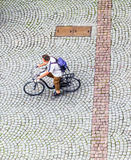 Aerial of a man on a bicycle Royalty Free Stock Photo