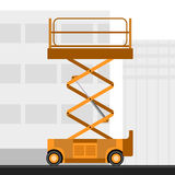 Aerial man scissor lift crane. With construction background. Side view mobile crane vector illustration stock illustration