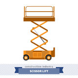 Aerial man scissor lift crane. Side view mobile crane isolated vector illustration royalty free illustration
