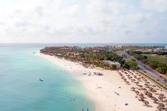 Aerial at Manchebo beach on Aruba island. In the Caribbean Stock Photos
