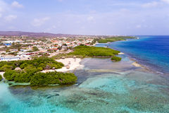 Aerial from Mangel Halto beach on Aruba island. In the Caribbean Sea Royalty Free Stock Image