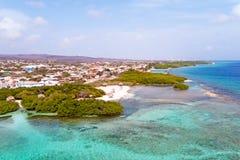 Aerial from Mangel Halto beach on Aruba island in the Caribbean. Sea Stock Photography