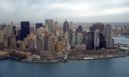 Aerial Manhattan. Aerial shot of the downtown Manhattan, New York USA Stock Photography
