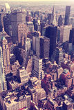 Aerial Manhattan skyline. Aerial retro Manhattan skyline, New York City