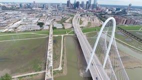Aerial of Margaret Hunt Hill Bridge in Dallas, Texas stock video