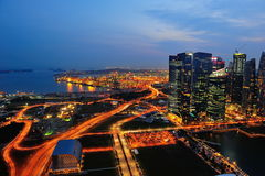 Aerial of Marina Bay financial district & port Stock Photos