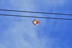 Aerial marker balls high power line Royalty Free Stock Photos