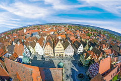 Aerial of the market place of Rothenburg ob der Tauber Royalty Free Stock Photo