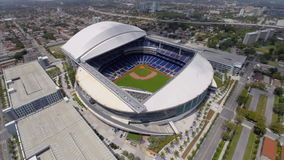 Aerial Marlins Park Miami stock video footage
