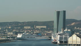 Aerial of Marseille port stock video footage
