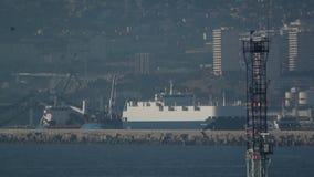 Aerial of Marseille port scene stock video footage